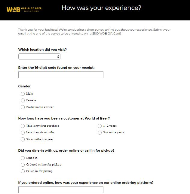 World of Beer Guest Opinion Survey